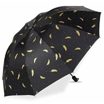 折りたたみ傘 晴雨兼用 軽量 携帯やすい 8本骨 日傘 雨傘 金色の羽毛柄 風に強い 梅雨対策 晴雨兼用 おりたたみ傘 ・・・