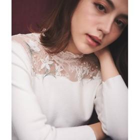Noela フラワー刺繍レース切替ニット(オフホワイト)