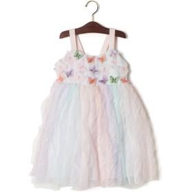 【74%OFF】立体バタフライモチーフ リボン ラッフルチュール切替 ドレス マルチ 10