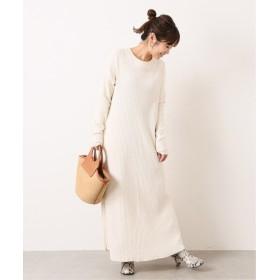JOURNAL STANDARD L'ESSAGE 【Uhr/ウーア】Back-belted Rib Dress:ワンピース◆ ホワイト フリー