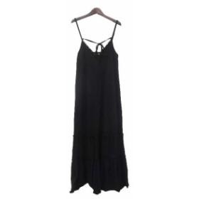 【中古】DREA my MINX ディアマイミンクス シンプル フリル メタル 装飾 キャミソール ロング ワンピース L ブラック
