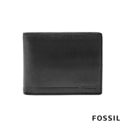 FOSSIL 母親節優惠 ALLEN 真皮證件格零錢袋RFID男夾-黑色(無鐵盒) SML1548001
