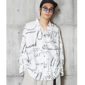 [マルイ] ドローイングプリント長袖開襟シャツ オープン長袖シャツ/アンリラクシング(unrelaxing)