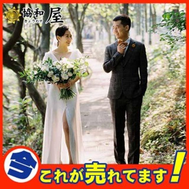 ウェディングドレス aラインドレス サテン ウエディングドレス 二次会 シンプル 長袖 結婚式 ロングドレス 演奏会