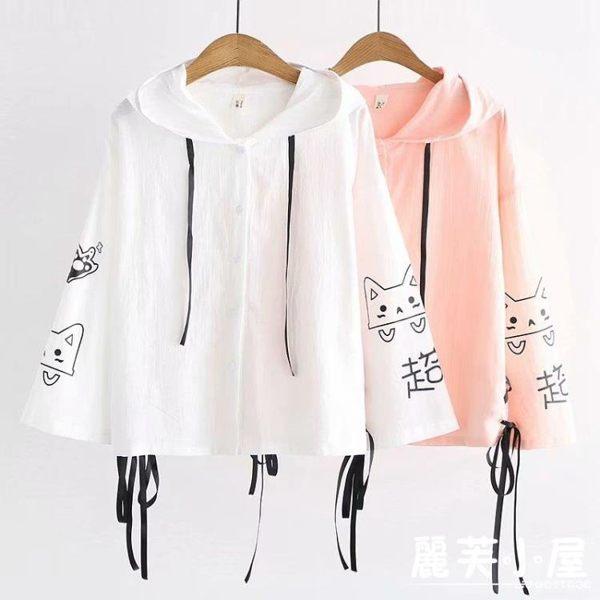 日系森女19春夏裝可愛貓咪印花薄外套學生少女寬松防曬衣服空調衫