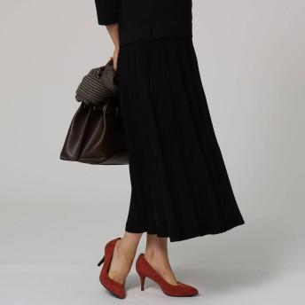 アンタイトル UNTITLED レーヨンプリーツ風ニットスカート (ブラック)