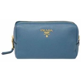 プラダ ポーチ 1ND004 PRADA コスメポーチ ロゴ付き VIT.DAINO COBALTO コバルト カーフブルー アウトレット
