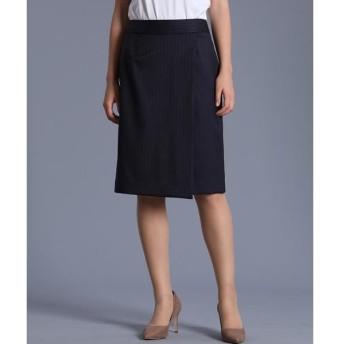 INED / イネド シルクウールストライプラップスカート