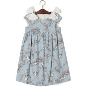【69%OFF】プリント 肩リボン キャップスリーブ ドレス ブルー 8