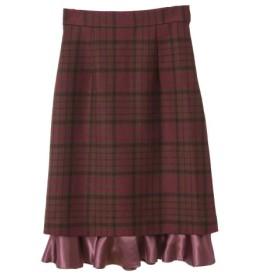 (31 Sons de mode/トランテアン ソン ドゥ モード)裾フリルチェックタイトスカート/レディース ブラウン