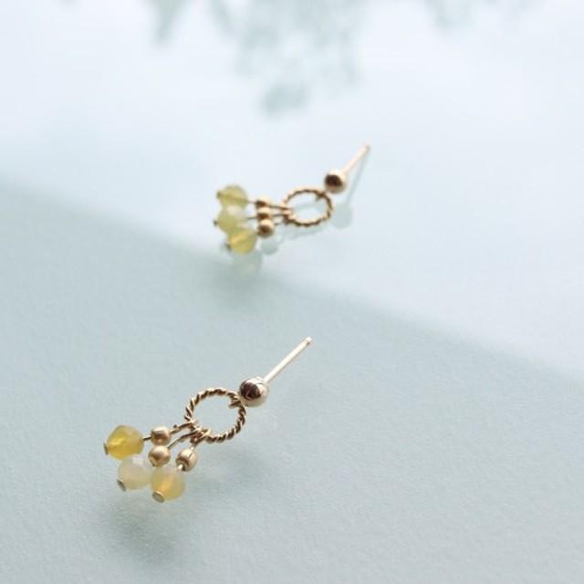 14kgf - Yellow Opal × Gold metal beads