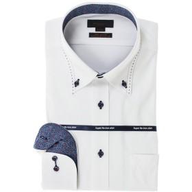 タカキュー ノーアイロン高機能 スリムフィットボタンダウン長袖ニットシャツ メンズ ホワイト M:39-80 【TAKA-Q】