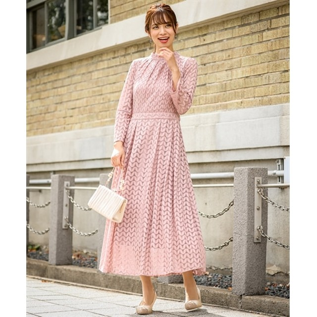 後ろリボンデザイン総リーフレースワンピースドレス