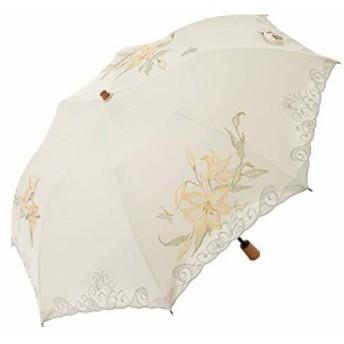 日傘 女優日傘 百合刺繍 ショート 折りたたみ 日傘 完全遮光 遮熱 UVカット かわず張り 涼しい 晴雨兼用傘 特殊2・・・
