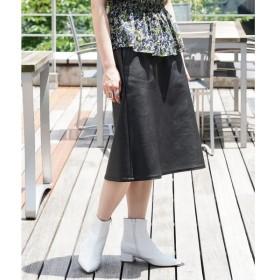TOMORROWLAND / トゥモローランド フェイクレザー トラペーズスカート