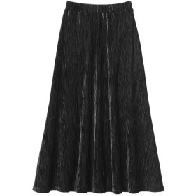 Ranan 【S~L 】ベロアプリーツスカート ブラック M レディース 5,000円(税抜)以上購入で送料無料 ロングスカート 夏 レディースファッション アパレル 通販 大きいサイズ コーデ 安い おしゃれ お洒落 20代 30代 40代 50代 女性 スカート
