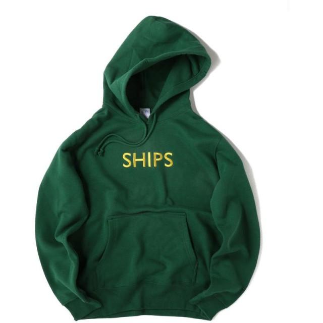 シップス SU: SHIPSロゴ ビッグシルエット エンブロイダリー パーカー(トレーナー) メンズ グリーン MEDIUM 【SHIPS】