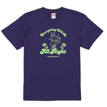 SALE【おおきめサイズ】猫とカエルのTシャツ(インディゴ)男女兼用