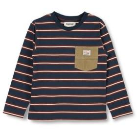 (branshes/ブランシェス)ポケット付ボーダー長袖Tシャツ/レディース ネイビーブルー