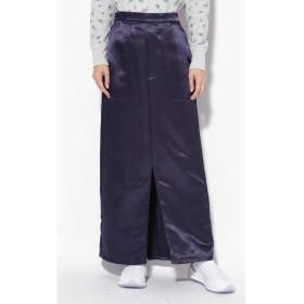 サテンストレートスカート ネイビー1