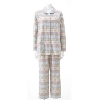 【レディース】 フリースシャツパジャマ - セシール ■カラー:グレー(ノルディック柄) ■サイズ:M,L,LL,3L,5L