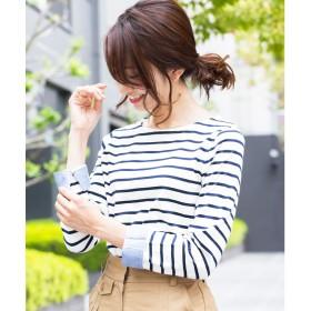 ミリアンデニ mili an deni 長袖袖シャンブレー切替Tシャツ (オフホワイトxネイビー)