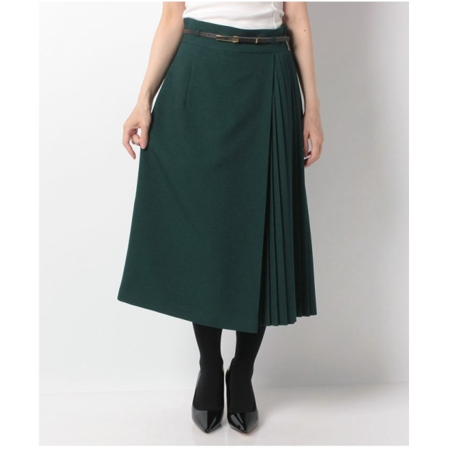 en recre 【DONEE YU】サイドプリーツAラインスカート(グリーン系)