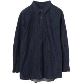 PASSIONE 星柄刺繍シャツ カジュアルシャツ,インディゴ