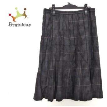 レリアン スカート サイズ17 XL レディース 美品 ダークグレー×グレー×ベージュ チェック柄 新着 20190904