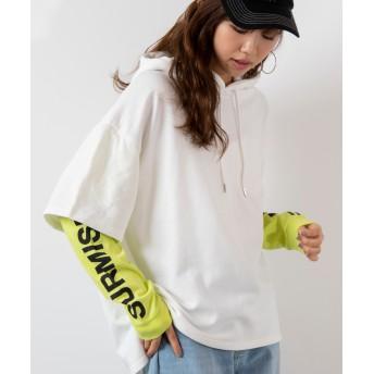 スウェット・ジャージ - WEGO【WOMEN】 スリーブロゴレイヤードパーカ BR19SP02-L041