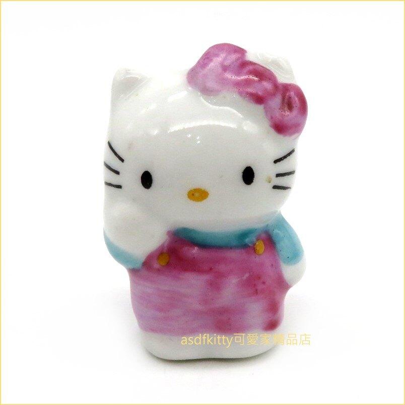 asdfkitty可愛家☆展示品出清-KITTY造型迷你陶瓷擺飾/裝飾品-日本正版商品