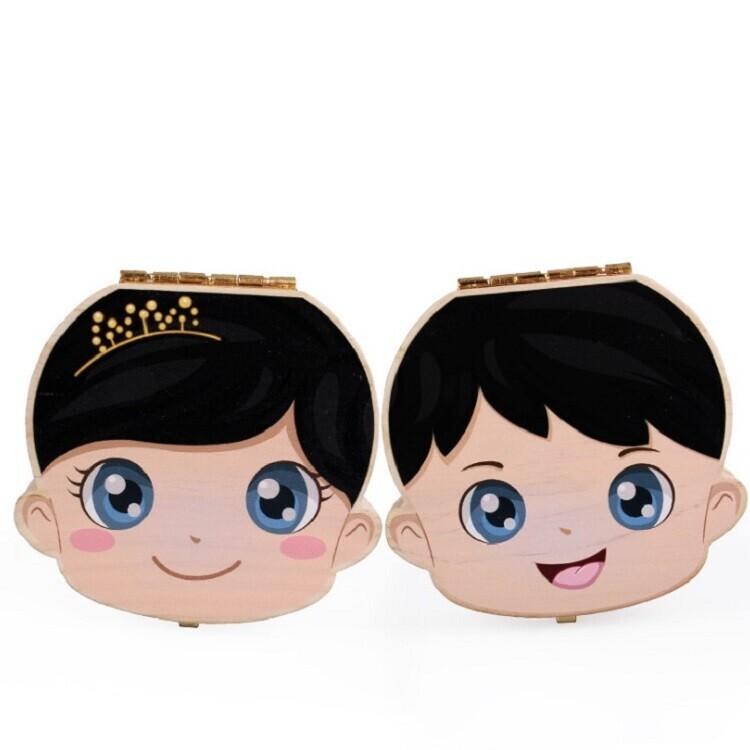 繁體中文版寶寶乳牙盒 繁體中文版 寶寶胎毛盒 兒童換牙齒肚臍帶保存收藏盒子胎髮紀念禮品盒