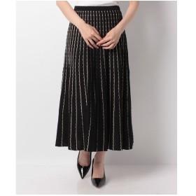 en recre 【TORRAZZO DONNA】ストライプ柄ニットスカート(ブラック)