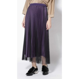チュールプリーツスカート ブラック1