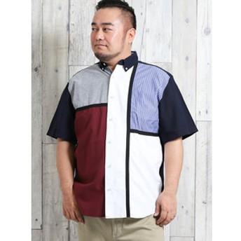 【GRAND-BACK:トップス】【大きいサイズ】グランバック/GRAND-BACK オックスストライプ切替ボタンダウン半袖シャツ