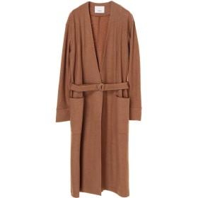 08sircus Super140's jacquard coat ラップ・ボタンレスコート,camel br