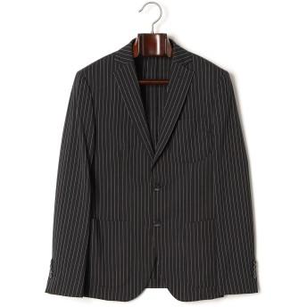 【71%OFF】ストライプ ノッチドラペル テーラードジャケット ブラック 50