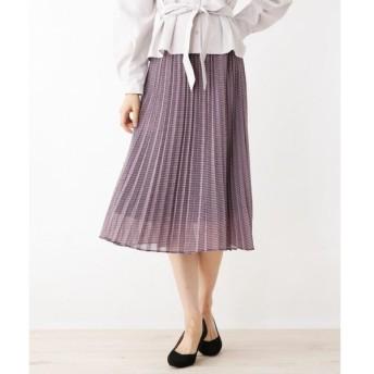 index / インデックス 【42(XL)WEB限定サイズ】シフォンチェックプリーツスカート