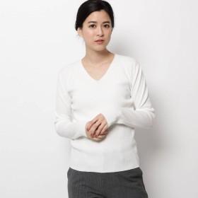 ソフール Sofuol ノーマルアテナ 細リブVネックニット (ホワイト)