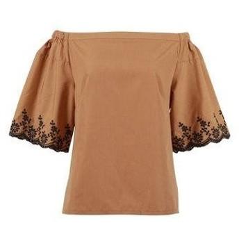 コウベレタス KOBE LETTUCE 袖刺繍オフショルブラウス [C3347] (キャメル)