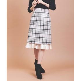 トランテアン ソン ドゥ モード 裾フリルチェックタイトスカート レディース クリーム 38(M) 【31 Sons de mode】