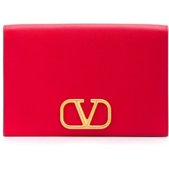 Valentino Valentino Garavani Vロゴ クラッチバッグ - レッド