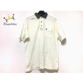 ダックス DAKS 半袖ポロシャツ サイズM メンズ アイボリー×ネイビー×グリーン 新着 20190904
