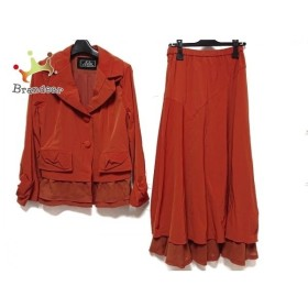 エイココンドウ EIKO KONDO スカートスーツ サイズ42 L レディース 美品 オレンジ 肩パッド   スペシャル特価 20191019