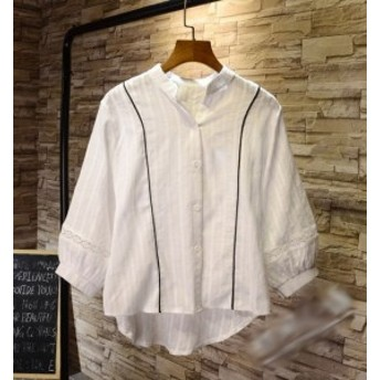 シャツ レディース 綿麻シャツ ブラウス ホワイトシャツ ストライプシャツ リネンシャツ