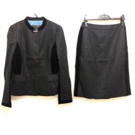 ポールスチュアート PaulStuart スカートスーツ サイズ6 M レディース 黒 ベロア【中古】20190903