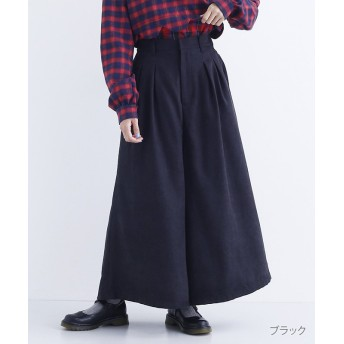メルロー コーデュロイタックワイドパンツ レディース ブラック FREE 【merlot】