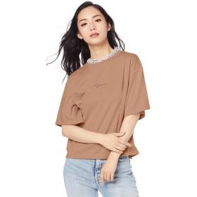 [ウィゴー] WEGO フラワー フリル ネック ロゴ T シャツ FREE フリーサイズ ブラウン レディース