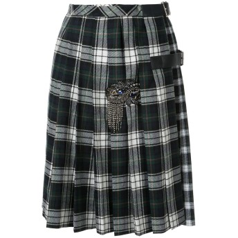 Dice Kayek pleated plaid print skirt - グリーン