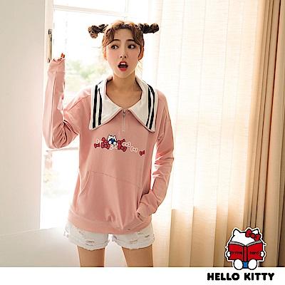 學院系列~KITTY印花大翻領橫條紋拉鍊長袖上衣-OB大尺碼